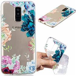 Gem Flower Clear Varnish Soft Phone Back Cover for Samsung Galaxy J8