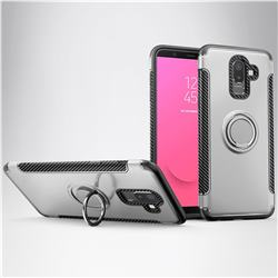 Armor Anti Drop Carbon PC + Silicon Invisible Ring Holder Phone Case for Samsung Galaxy J8 - Silver