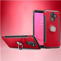 Armor Anti Drop Carbon PC + Silicon Invisible Ring Holder Phone Case for Samsung Galaxy J8 - Red