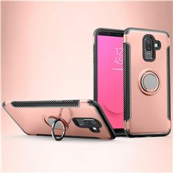 Armor Anti Drop Carbon PC + Silicon Invisible Ring Holder Phone Case for Samsung Galaxy J8 - Rose Gold