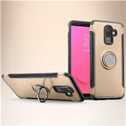 Armor Anti Drop Carbon PC + Silicon Invisible Ring Holder Phone Case for Samsung Galaxy J8 - Champagne