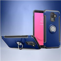 Armor Anti Drop Carbon PC + Silicon Invisible Ring Holder Phone Case for Samsung Galaxy J8 - Sapphire