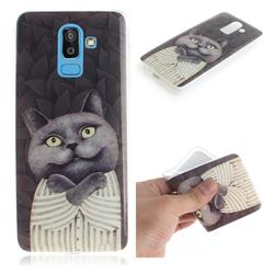 Cat Embrace IMD Soft TPU Cell Phone Back Cover for Samsung Galaxy J8