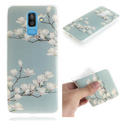 Magnolia Flower IMD Soft TPU Cell Phone Back Cover for Samsung Galaxy J8