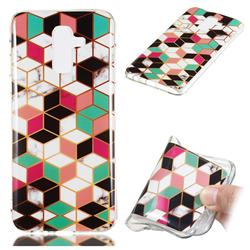 Three-dimensional Square Soft TPU Marble Pattern Phone Case for Samsung Galaxy J8