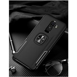 Knight Armor Anti Drop PC + Silicone Invisible Ring Holder Phone Cover for Samsung Galaxy J8 - Black