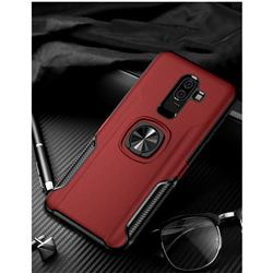 Knight Armor Anti Drop PC + Silicone Invisible Ring Holder Phone Cover for Samsung Galaxy J8 - Red