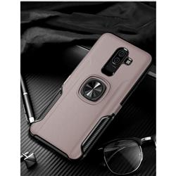 Knight Armor Anti Drop PC + Silicone Invisible Ring Holder Phone Cover for Samsung Galaxy J8 - Rose Gold
