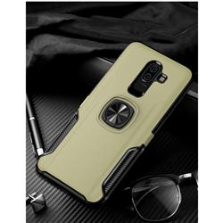 Knight Armor Anti Drop PC + Silicone Invisible Ring Holder Phone Cover for Samsung Galaxy J8 - Champagne