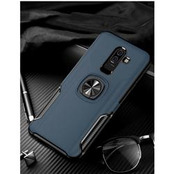 Knight Armor Anti Drop PC + Silicone Invisible Ring Holder Phone Cover for Samsung Galaxy J8 - Sapphire