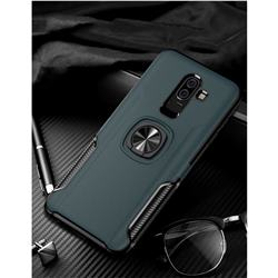 Knight Armor Anti Drop PC + Silicone Invisible Ring Holder Phone Cover for Samsung Galaxy J8 - Navy