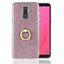 Luxury Soft TPU Glitter Back Ring Cover with 360 Rotate Finger Holder Buckle for Samsung Galaxy J8 - Pink