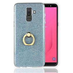 Luxury Soft TPU Glitter Back Ring Cover with 360 Rotate Finger Holder Buckle for Samsung Galaxy J8 - Blue