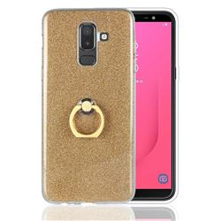 Luxury Soft TPU Glitter Back Ring Cover with 360 Rotate Finger Holder Buckle for Samsung Galaxy J8 - Golden