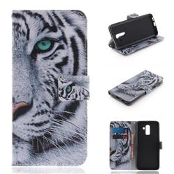 White Tiger PU Leather Wallet Case for Samsung Galaxy J8