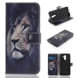 Lion Face PU Leather Wallet Case for Samsung Galaxy J8
