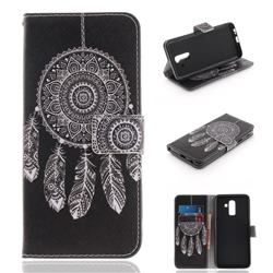 Black Wind Chimes PU Leather Wallet Case for Samsung Galaxy J8