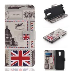 London Envelope PU Leather Wallet Case for Samsung Galaxy J8