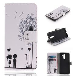 Couple Dandelion PU Leather Wallet Case for Samsung Galaxy J8