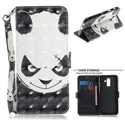 Angry Bear 3D Painted Leather Wallet Phone Case for Samsung Galaxy J8