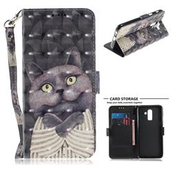 Cat Embrace 3D Painted Leather Wallet Phone Case for Samsung Galaxy J8