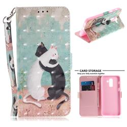 Black and White Cat 3D Painted Leather Wallet Phone Case for Samsung Galaxy J8