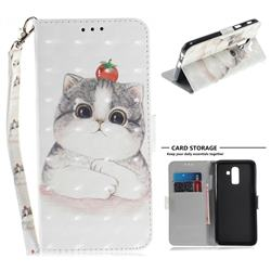 Cute Tomato Cat 3D Painted Leather Wallet Phone Case for Samsung Galaxy J8