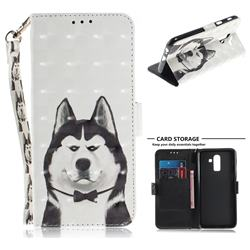 Husky Dog 3D Painted Leather Wallet Phone Case for Samsung Galaxy J8