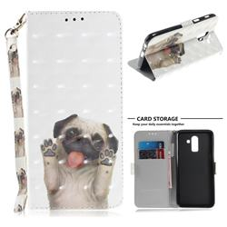 Pug Dog 3D Painted Leather Wallet Phone Case for Samsung Galaxy J8