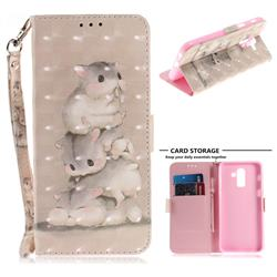 Three Squirrels 3D Painted Leather Wallet Phone Case for Samsung Galaxy J8