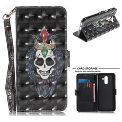 Skull Cat 3D Painted Leather Wallet Phone Case for Samsung Galaxy J8