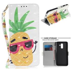 Pineapple Glasses 3D Painted Leather Wallet Phone Case for Samsung Galaxy J8