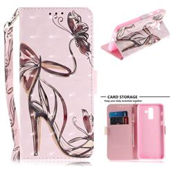 Butterfly High Heels 3D Painted Leather Wallet Phone Case for Samsung Galaxy J8