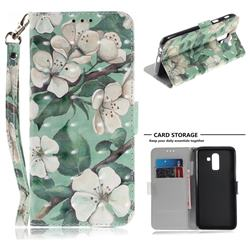 Watercolor Flower 3D Painted Leather Wallet Phone Case for Samsung Galaxy J8