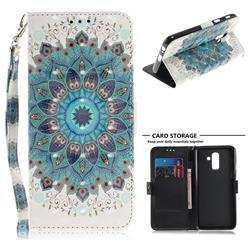 Peacock Mandala 3D Painted Leather Wallet Phone Case for Samsung Galaxy J8