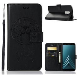Intricate Embossing Owl Campanula Leather Wallet Case for Samsung Galaxy J8 - Black
