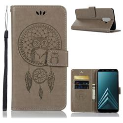 Intricate Embossing Owl Campanula Leather Wallet Case for Samsung Galaxy J8 - Grey