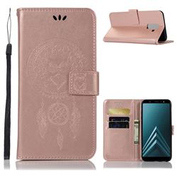 Intricate Embossing Owl Campanula Leather Wallet Case for Samsung Galaxy J8 - Rose Gold