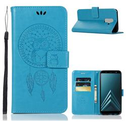Intricate Embossing Owl Campanula Leather Wallet Case for Samsung Galaxy J8 - Blue