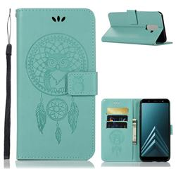 Intricate Embossing Owl Campanula Leather Wallet Case for Samsung Galaxy J8 - Green