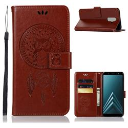 Intricate Embossing Owl Campanula Leather Wallet Case for Samsung Galaxy J8 - Brown