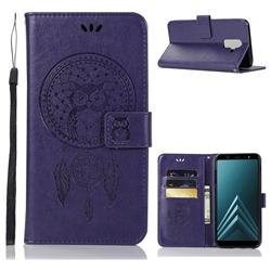 Intricate Embossing Owl Campanula Leather Wallet Case for Samsung Galaxy J8 - Purple