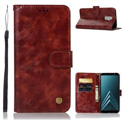 Luxury Retro Leather Wallet Case for Samsung Galaxy J8 - Wine Red