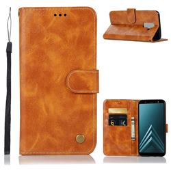 Luxury Retro Leather Wallet Case for Samsung Galaxy J8 - Golden