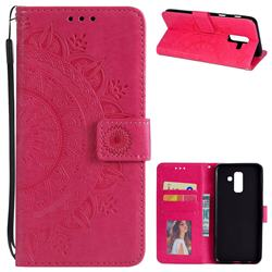Intricate Embossing Datura Leather Wallet Case for Samsung Galaxy J8 - Rose Red