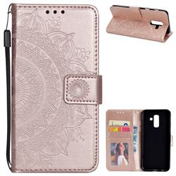 Intricate Embossing Datura Leather Wallet Case for Samsung Galaxy J8 - Rose Gold