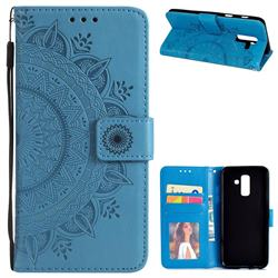 Intricate Embossing Datura Leather Wallet Case for Samsung Galaxy J8 - Blue