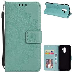 Intricate Embossing Datura Leather Wallet Case for Samsung Galaxy J8 - Mint Green