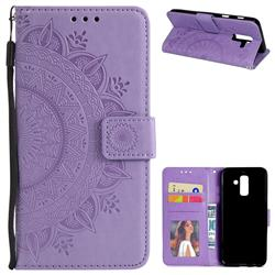 Intricate Embossing Datura Leather Wallet Case for Samsung Galaxy J8 - Purple