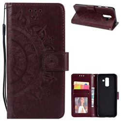 Intricate Embossing Datura Leather Wallet Case for Samsung Galaxy J8 - Brown